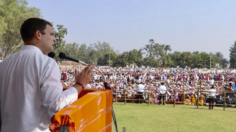 Congress President Rahul Gandhi addresses a public meeting at Pakhanjore, in Kanker district, on Friday. (Photo: PTI)