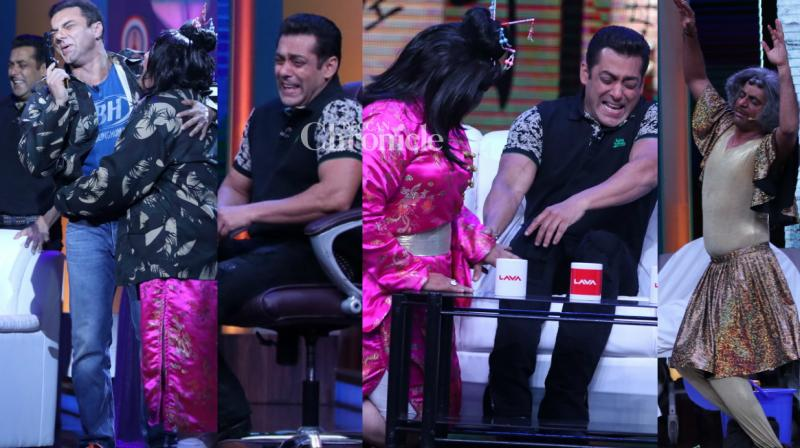 Salman Khan and Sohail Khan could not hold their laughter at the antics of Ali Asgar, Sunil Grover and other comedians while shooting a special show 'Super Night with Tubelight' for the promotions of their upcoming film 'Tubelight' in Mumbai on Wednesday. (Photo: Viral Bhayani)