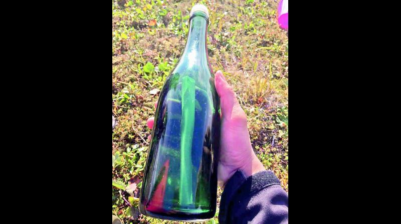 The bottle found by Tyler Ivanhoff in Alaska with the message in it.