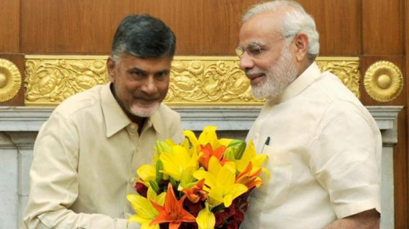 Prime Minister Narendra Modi speaks to Andhra Pradesh Chief Minister Chandrababu Naidu on Thursday afternoon. (Photo: PTI/File)