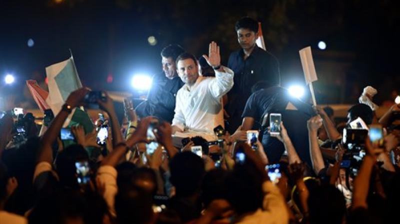 Congress president Rahul Gandhi led a midnight march to India Gate to protest the Kathua and Unnao rape cases. (Photo: File/PTI)