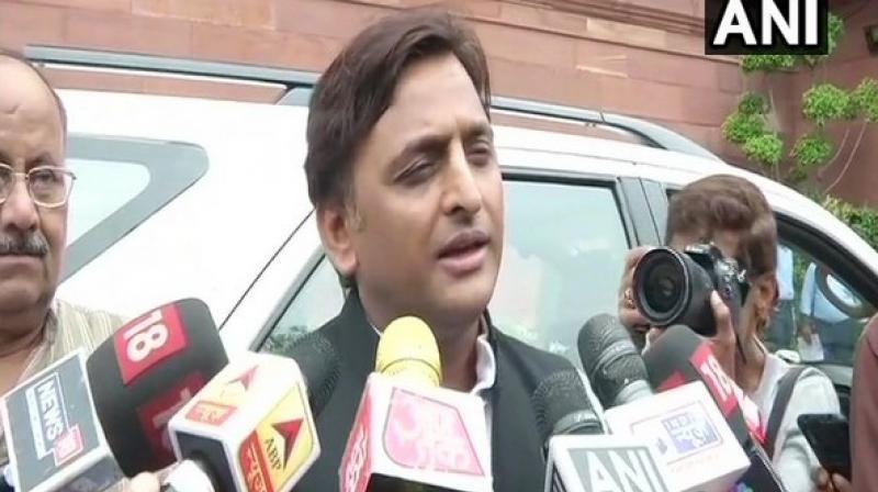'I don't think any unparliamentary words were used,' Akhilesh said while backing Khan. (Photo: ANI)