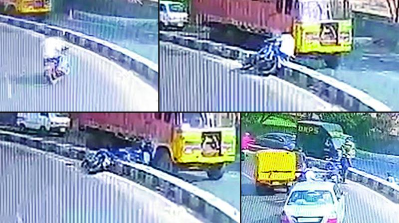 A CCTV grab shows the victims approaching the accident spot, hitting the divider, falling under the truck, and a body lying on the road behind the truck.