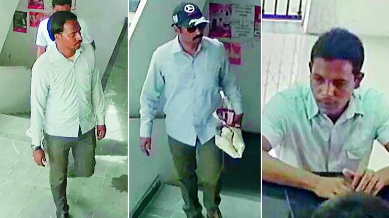 Some of the suspects that were recorded by CC cameras at the mini Muthoot branch on Tuesday.