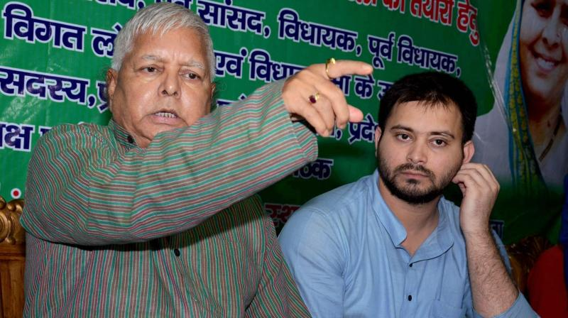 CBI has issued summon to former Railways minister Lalu Yadav, son Tejashwi in connection with alleged corruption in awarding the maintenance contract for two IRCTC hotels to a private firm. (Photo: File | PTI)