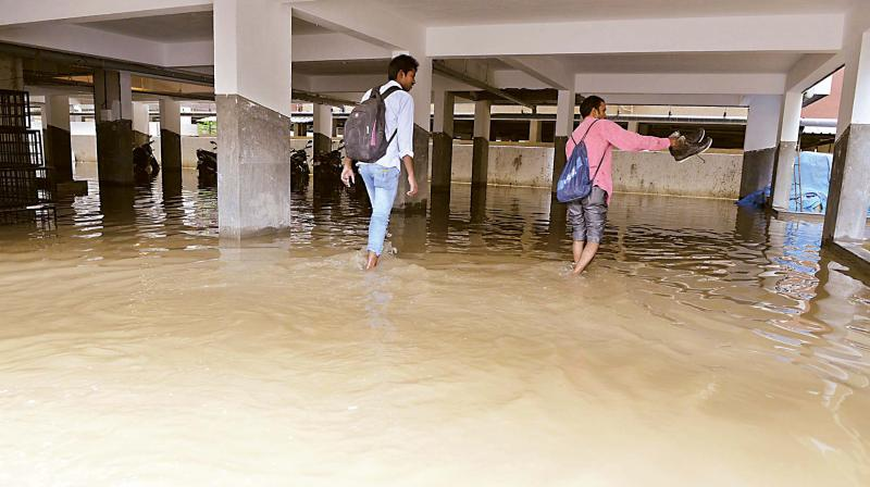 File photo of a flooded apartment complex off Bannerghatta road. (Photo: DC)