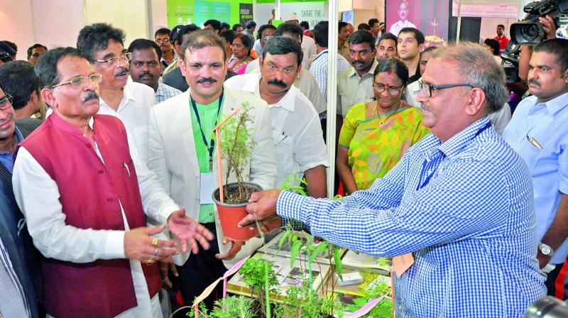 Union minister of state (Independent charge) for AYUSH, Shripad Yesso Naik takes a look at the exhibition after inaugurating the four-day National Arogya Fair-2017 at Andhra University ground in Visakhapatnam on Friday. (Photo: DC)