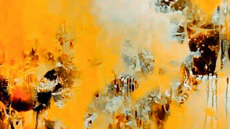 The richly textured surface in the painting reflects hazy similarities with natural elements.