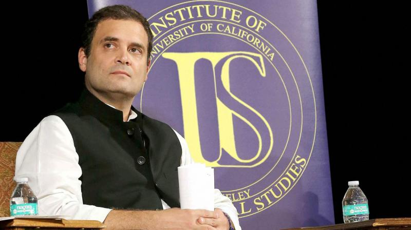 Congress Vice President, Rahul Gandhi at Institute of International Studies at UC Berkeley, California on Monday. (Photo: PTI)
