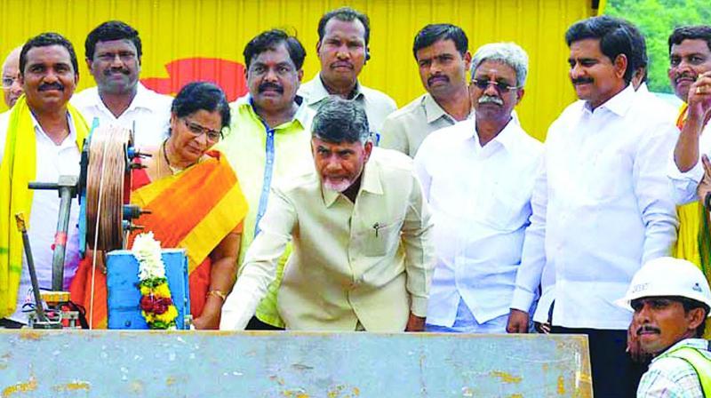 Chief Minister N. Chandrababu Naidu inspects Polavaram Project works on Monday. (Photo: DC)
