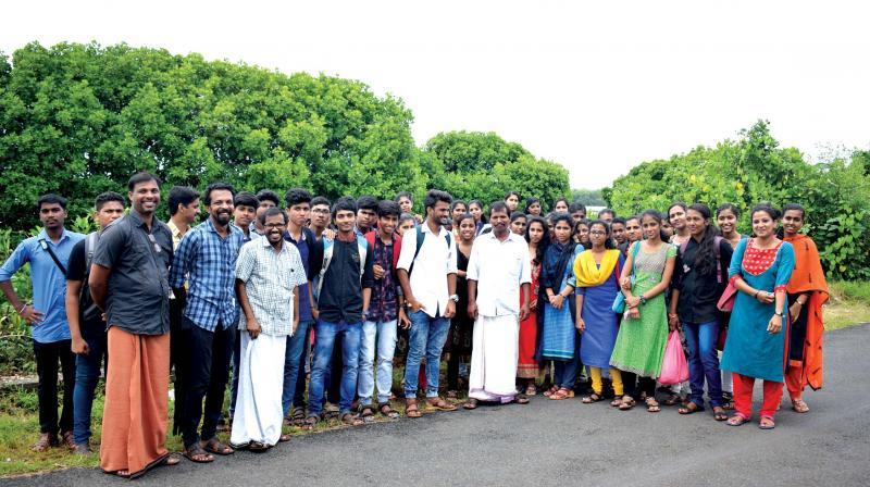 Students at the Kallen Pokkudan Mangrove School at Payangadi in Kannur.