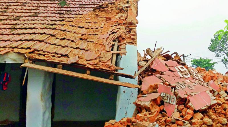 Two tile-roofed houses at Ambasamudram collapsed injuring two persons in the wake of incessant rains in Tirunelveli district.  (Representational Image)