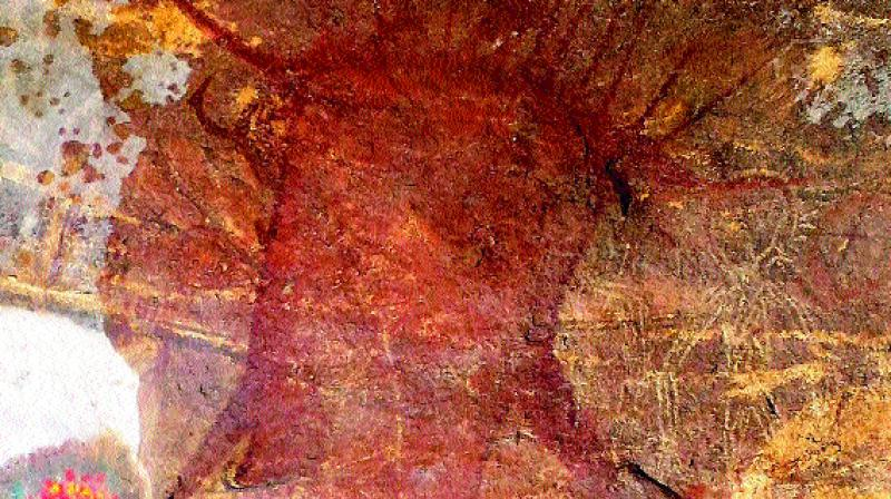 The cave painting found at Thaatimattayyah near Mancherial.