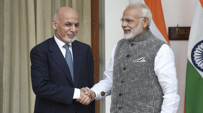 PM Narendra Modi with Afghan President Ashraf Ghani. (Photo: ANI)