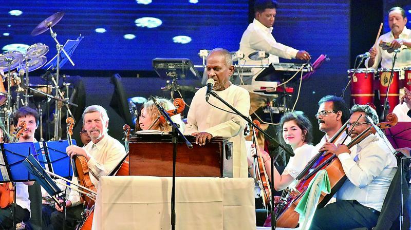 Maestro Ilayaraja with musicians from around the world on Sunday evening at the Gachibowli Stadium.