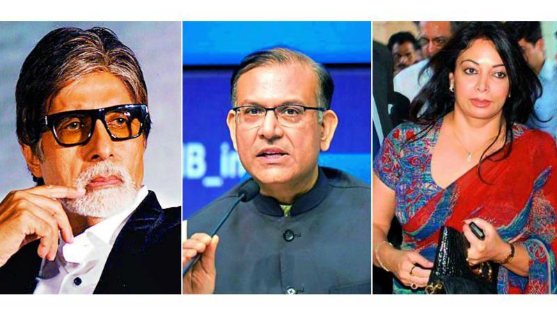 The Indian names include Bollywood star Amitabh Bachchan, defaulter businessman Vijay Mallya, corporate lobbyist Niira Radia, film star Sanjay Dutt's wife Dilnashin, Union minister Jayant Sinha and Rajya Sabha MP R.K. Sinha.