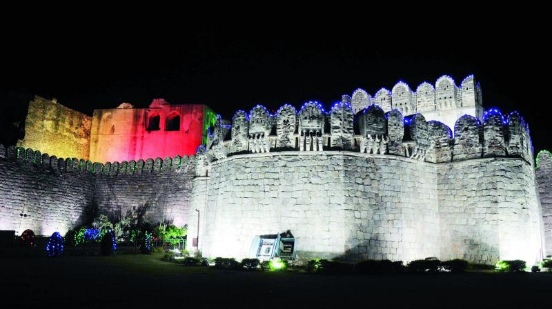A filephoto of illuminated Golkonda Fort. (Photo: DC)