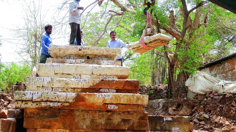 Authorities excavate artefacts from a historical site near Srisailam.