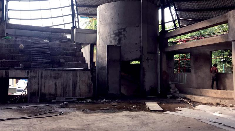 The unfinished basketball court in Malleswaram.