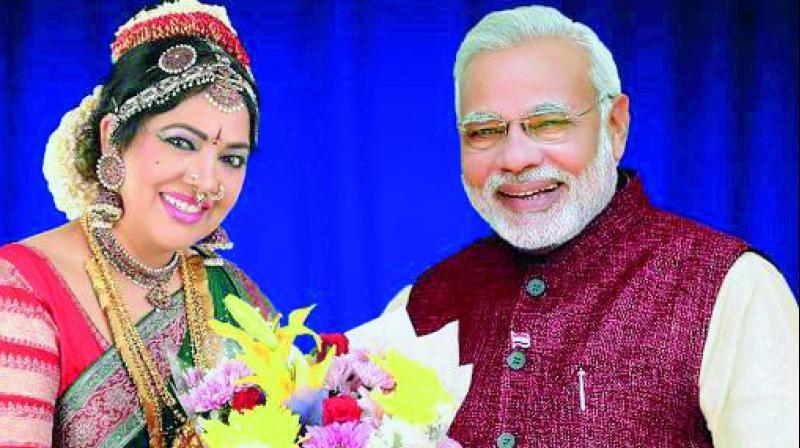 Dr G. Padmaja Reddy with PM Modi.