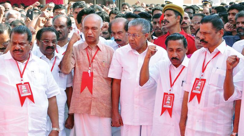 Chief Minister Pinarayi Vijayan among other CPM leaders at the party's Kozhikode district conference at Koyilandy on Tuesday. (Photo: DC)