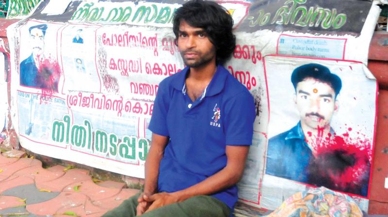 Sreejith of Parassala sits on protest in front of Secretariat. (Photo: DC)