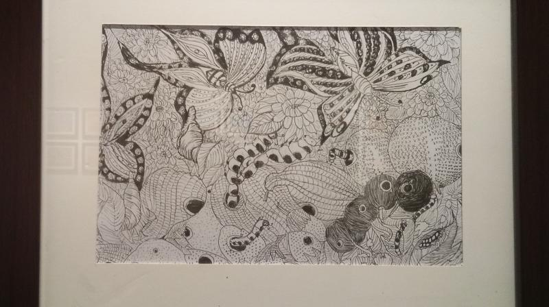 A pen sketch inspired from Eric Carle's ' The hungry caterpillar'.