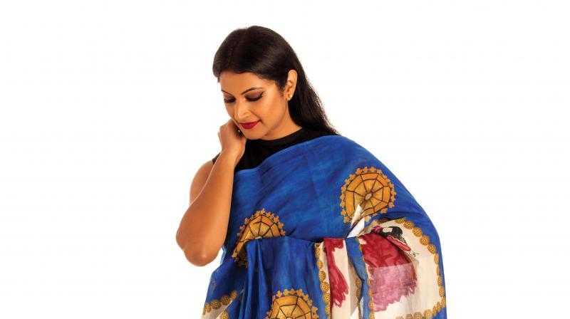 A model in saree.