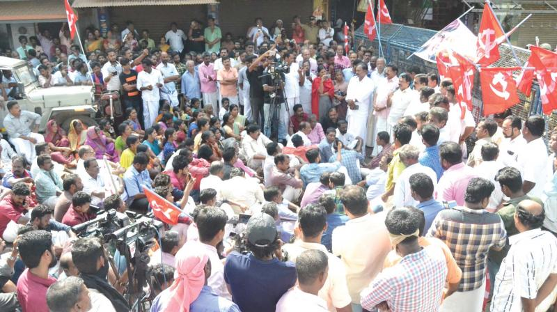 The rally took out by CPM at Thrithala on Friday. (Photo: DC)