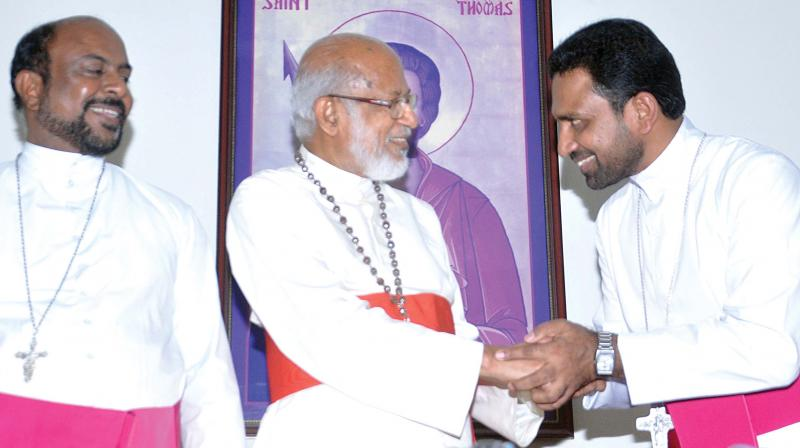 Major archbishop Mar George Alencherry with newly appointed bishops Fr. James Athikkalam and Fr. John Nellikunnel at St. Thomas Mount in Kochi on Friday.  (Photo: SUNOJ NINAN MATHEW)