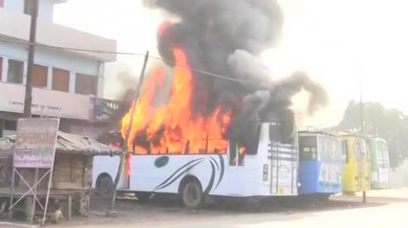 Two buses torched during Kasganj clashes