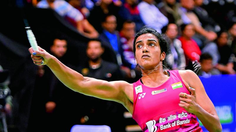 P.V. Sindhu in action against Spain's Beatriz Corrales in the India Open quarters in New Delhi on Friday. (Photo: PTI)