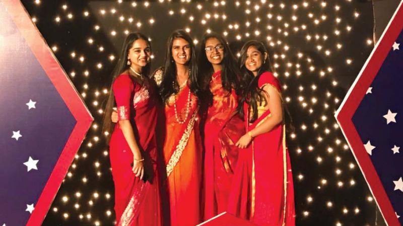 Sakshi Rao (third from left) with her friends dressed for the graduation ceremony.