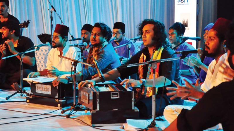 The band 'Mehfil-E-Sama Qawali', performs to herald the Kerala Literature Festival at the festival venue, Kozhikode beach on Wednesday.