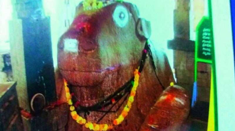 The Nandi at the Yaganti temple in Kurnool.