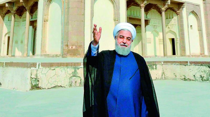 Iranian President Hassan Rouhani visits the Qutub Shahi tomb at Ibrahim Bagh in Hyderabad on Friday. He is on a three-day visit to India