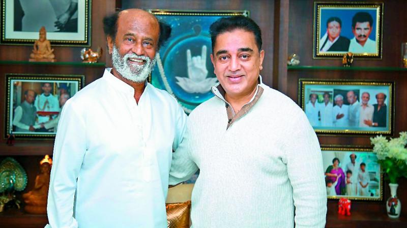 Kamal Haasan meets Rajinikanth, says calling on people he likes