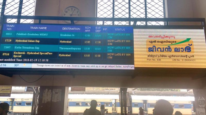 The electronic board displaying trains running late in Kochi.