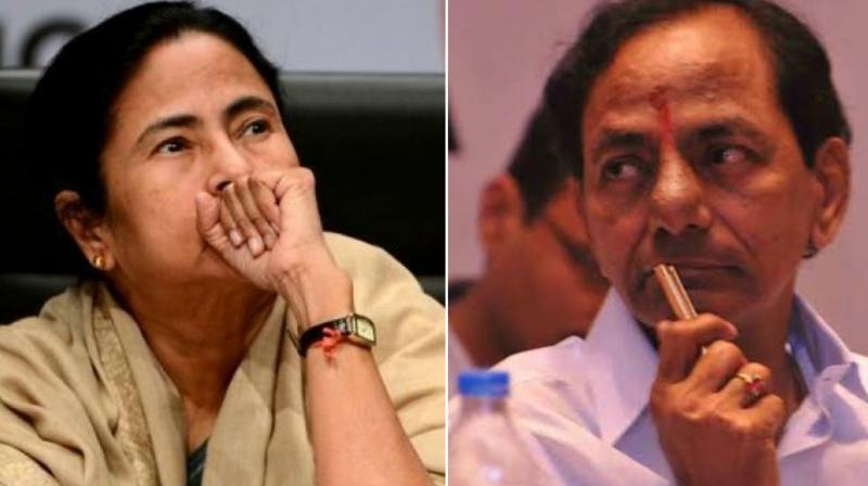 West Bengal Chief Minister Mamata Banerjee and Telangana Chief Minister K. Chandrasekhar Rao.