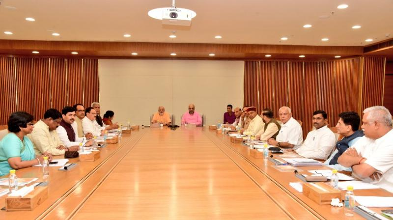 The BJP top brass, including Prime Minister Narendra Modi and party president Amit Shah, met earlier on Sunday night to finalise the candidates for the polls. (Photo: Twitter | @AmitShah)