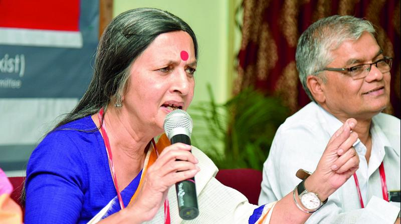 CPI-M leader Brinda Karat during a press meet at Sundarayya Vignana Kendram, Baghlingampally. (Photo:DC)