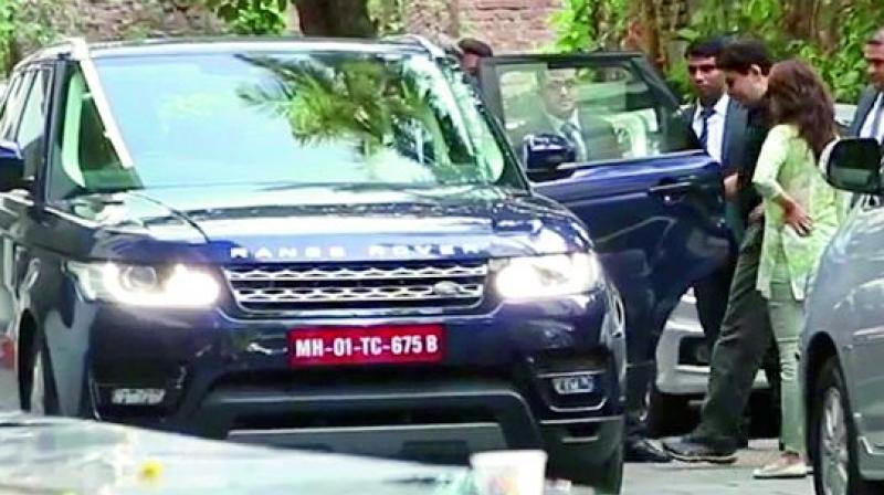 The actress-turned-producer went along with husband, Shriram Nene, over the weekend to check out a Range Rover and take it on a test drive.