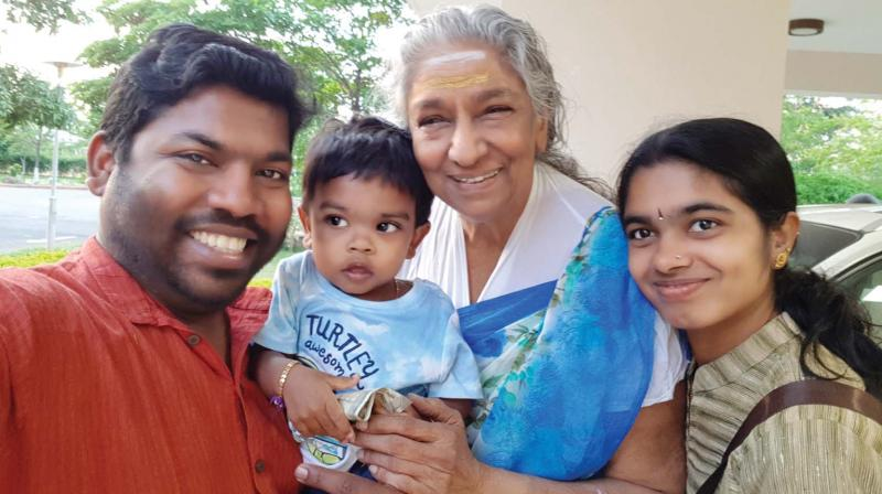Abhilash and his family with  S.Janaki.