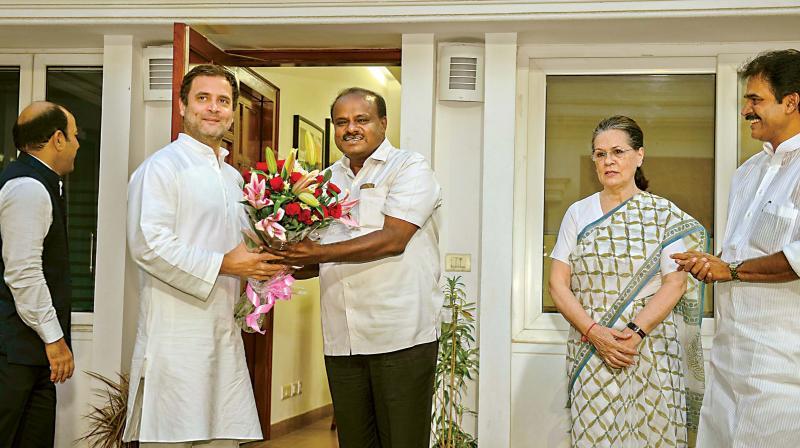 JD (S) leader & Karnataka CM H D Kumaraswamy met Congress President Rahul Gandhi & Sonia Gandhi
