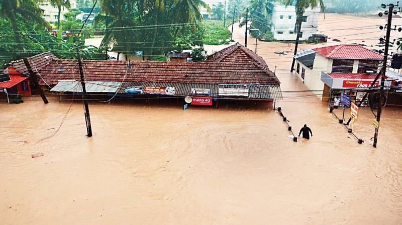 A file photo of a flooded locality in Mangaluru.
