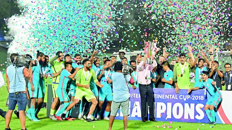 Indian Football team celebrates as they lift the Intercontinental Cup 2018.