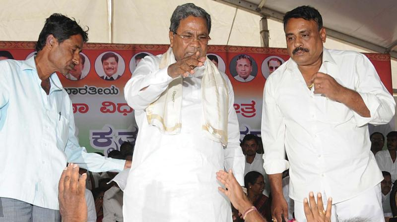 Former CM Siddaramaiah at a Congress workers' meeting in Mysuru on Tuesday.