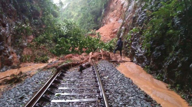 Landslide on Hassan-Mangaluru railway track.
