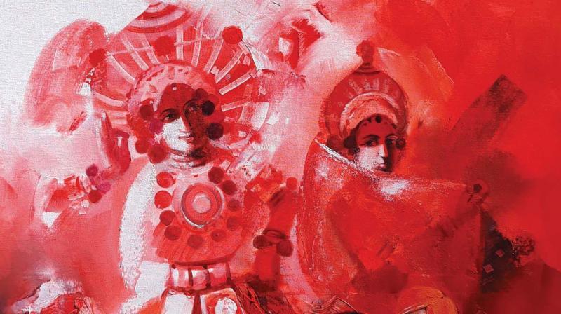 A painting by Hinchinamani on Yakshagana.