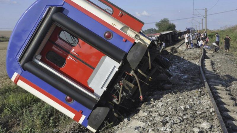 An overturned train car is seen near a village at Tekirdag province. (Photo: AP)